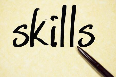 skills word write on paper
