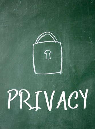 privacy sign on blackboard Stock Photo