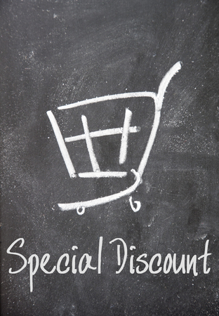 special discount sign on blackboard photo