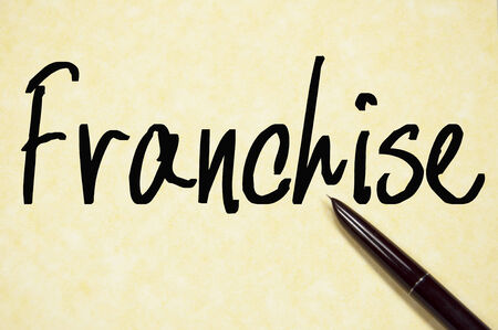 distribute: franchise word write on paper