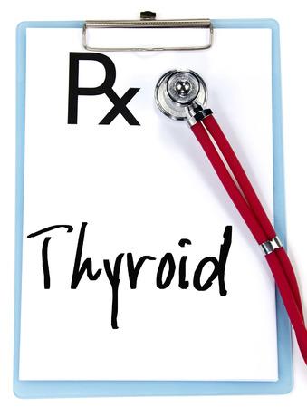 prescriptions: tiroides palabra de escritura en las recetas