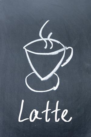 drinkable: latte coffee sign on blackboard Stock Photo