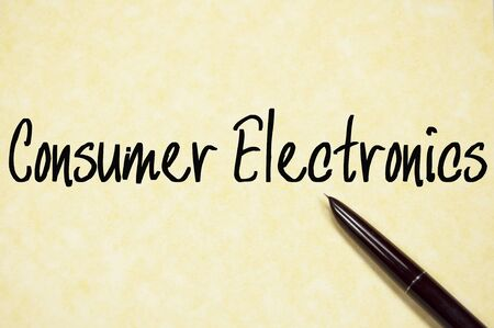 consumer electronics: consumer electronics text write on paper