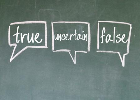 true uncertain and false debate sign on blackboard 写真素材