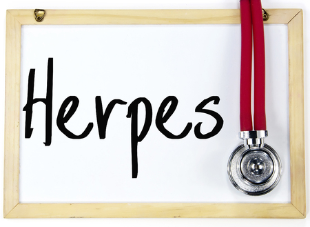herpes simplex: Herpes word write on white board