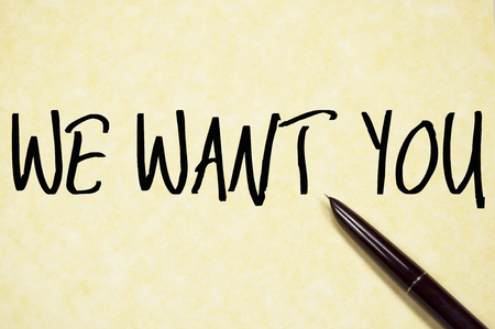 new recruit: we want you text write on paper Stock Photo