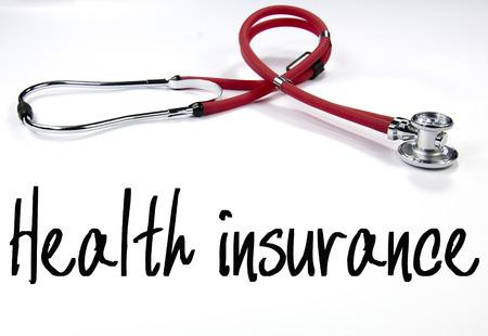醫療保健: 健康保險的文字和聽診器 版權商用圖片