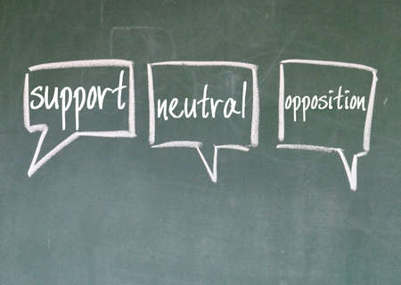 antithesis: support, neutral and opposition chat sign on blackboard