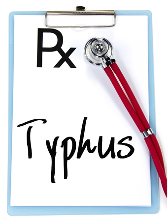 typhus: typhus word write on prescription Stock Photo