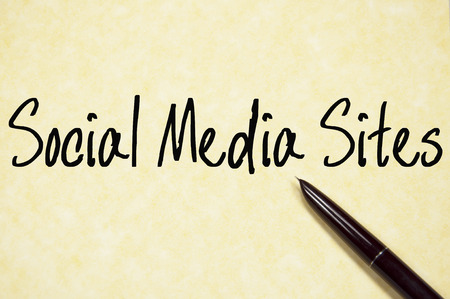 sns: social media sites text write on paper Stock Photo