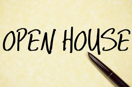 open house: open house  text write on paper Stock Photo