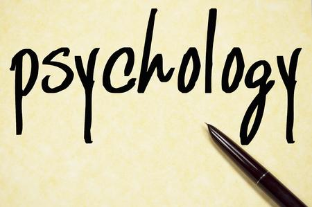 psicologia: palabra psicología escribir en un papel