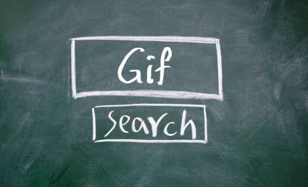 search gif interface on blackboard Stock Photo