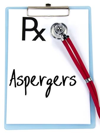 asperger: aspergers word write on prescription