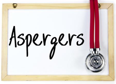 asperger: aspergers word write on white board