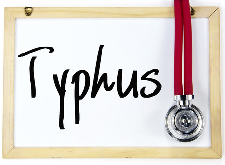 typhus: typhus word write on white board