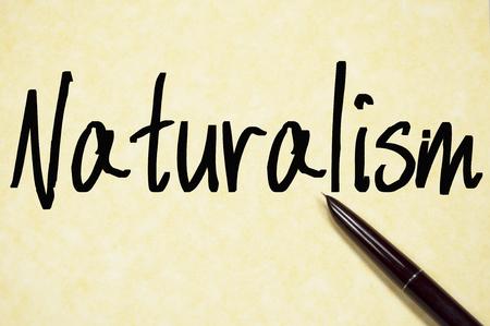 eco slogan: naturalism word write on paper Stock Photo