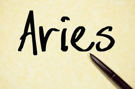 Aries Word Write On Paper