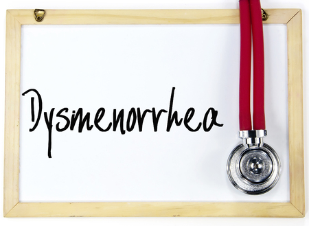 stomachache woman: dysmenorrhea word write on whiteboard