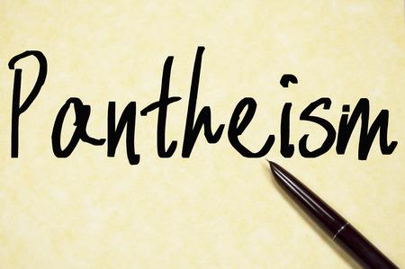 divinity: pantheism word write on paper