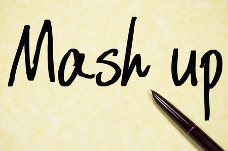 mash: mash up text write on paper
