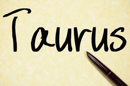 bull pen: taurus word write on paper