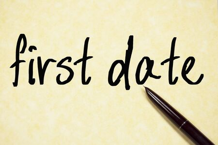 couple date: first date text write on paper