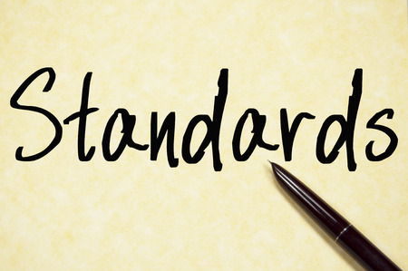standards: standards word write on paper
