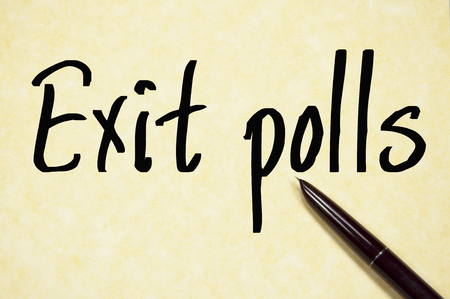 polls: exit polls text write on paper Stock Photo