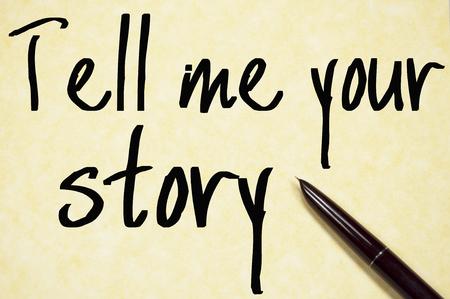 教えてくださいあなたの物語テキスト書く紙の上
