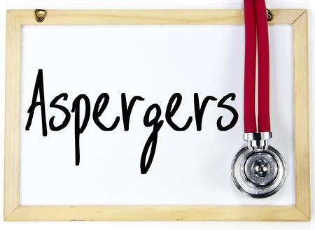 asperger: aspergers word write on blackboard Stock Photo