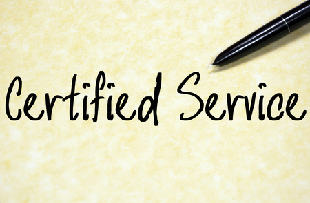 certified service text write on paper Stock Photo