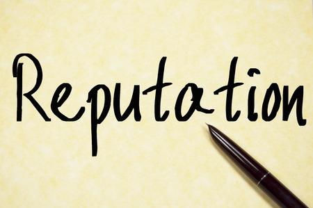 reputation word write on paper Stock Photo