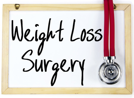 weight loss surgery text write on paper