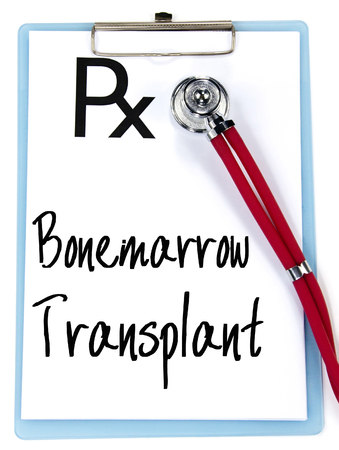 transplant: bonemarrow transplant text write on prescription Stock Photo
