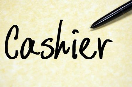 treasurer: cashier word write on paper