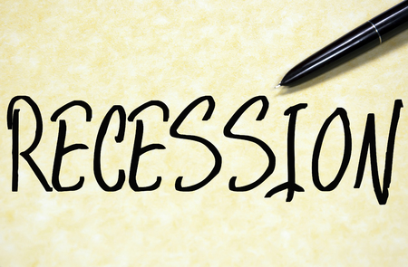 recession: recession word write on paper