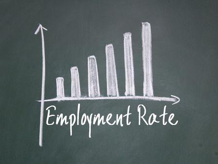 employment: employment rate chart write on blackboard