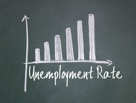 unemployment rate: unemployment rate chat on blackboard Stock Photo