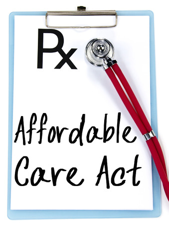 affordable: affordable care act text write on prescription Stock Photo