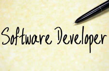 developer: software developer text write on paper