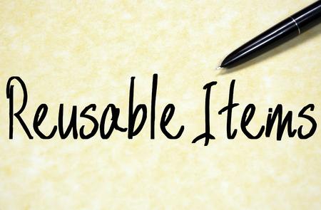 reusable: reusable items text write on paper Stock Photo