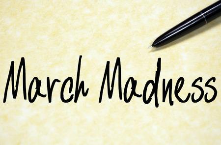 march madness text write on paper Standard-Bild