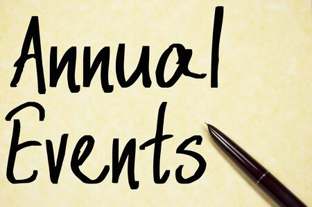annual events: annual events text write on paper Stock Photo