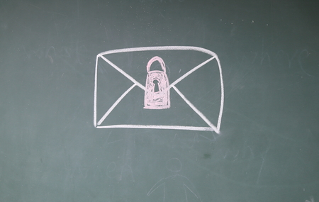 email security: Email Security sign on blackboard Stock Photo