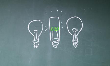 green bulb: green bulb sign on blackboard