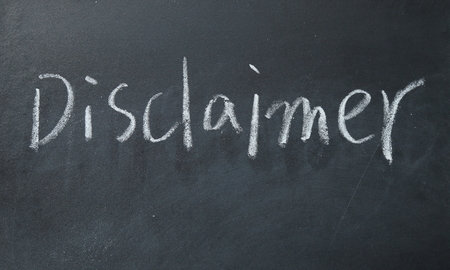 renunciation: disclaimer word write on blackboard Stock Photo