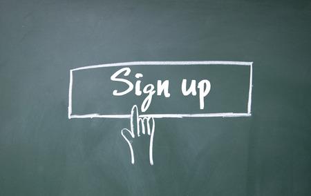 sign up sign Foto de archivo