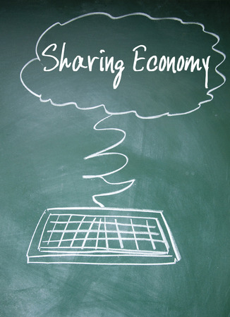 debt goals: sharing economy sign Stock Photo
