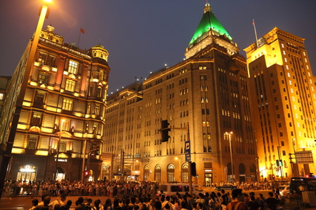 pedestrian traffic lights: Shanghai Bund Editorial